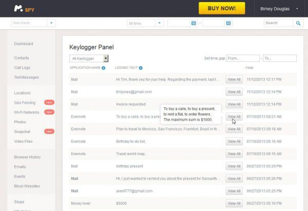 application keylogger de mSpy